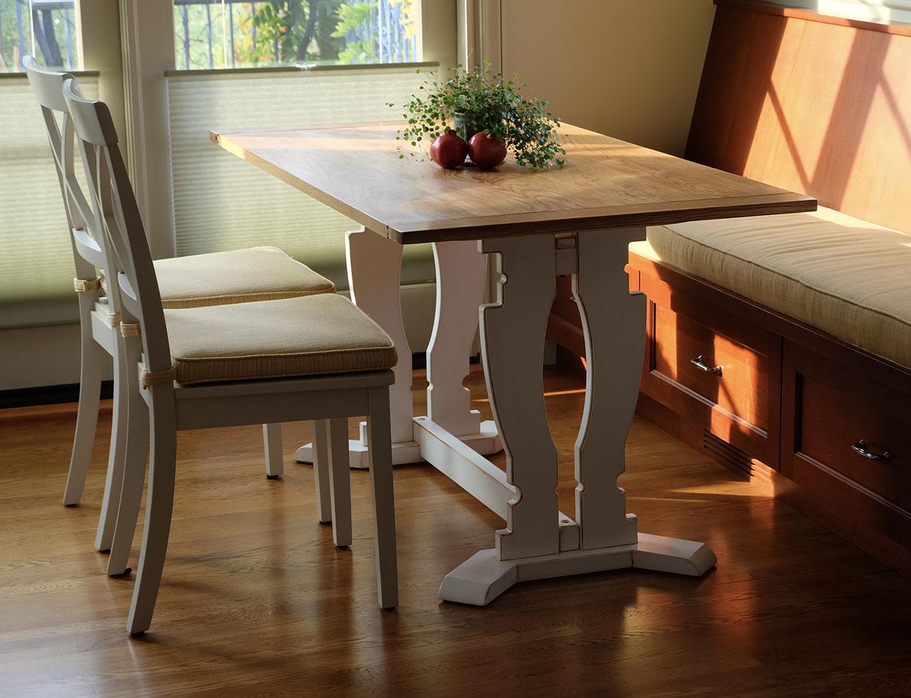 sunlit dining table